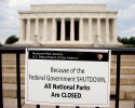 "A sign reading ""Because of the Federal Government SHUTDOWN All National Parks are Closed"" is posted on a barricade in front of the Lincoln Memorial in Washington, Tuesday, Oct. 1, 2013. Congress plunged the nation into a partial government shutdown Tuesday as a long-running dispute over President Barack Obama's health care law stalled a temporary funding bill, forcing about 800,000 federal workers off the job and suspending most non-essential federal programs and services."