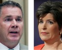 This combo of 2014 file photos shows Iowa Democratic senatorial candidate, Rep. Bruce Braley, left, and Republican senatorial candidate State Sen. Joni Ernst. Iowa is a state with a relatively small number of veterans and no military bases, yet the hotly contested Senate race here is heavily focused on the military. The recent scandals surrounding veterans' health care and the air strikes against Islamic State militants in Iraq mean the troops are on people's minds. (AP Photo)