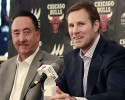 Chicago Bulls new coach Fred Hoiberg, right, and general manager Gar Forman smile during an NBA basketball news conference, Tuesday, June 2, 2015, in Chicago.
