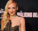 """Emily Kinney, a cast member in the television series """"The Walking Dead,"""" poses at a special screening for season five of the show on Thursday, Oct. 2, 2014, in Universal City, Calif."""